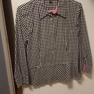 Ralph Lauren gingham black and white with hot pink